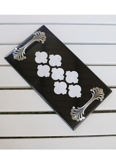 3Wdesign El Yapımı Morocco Mermer Tepsi Siyah